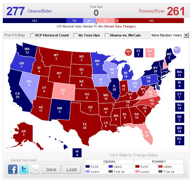 Obama Electoral Map 2012
