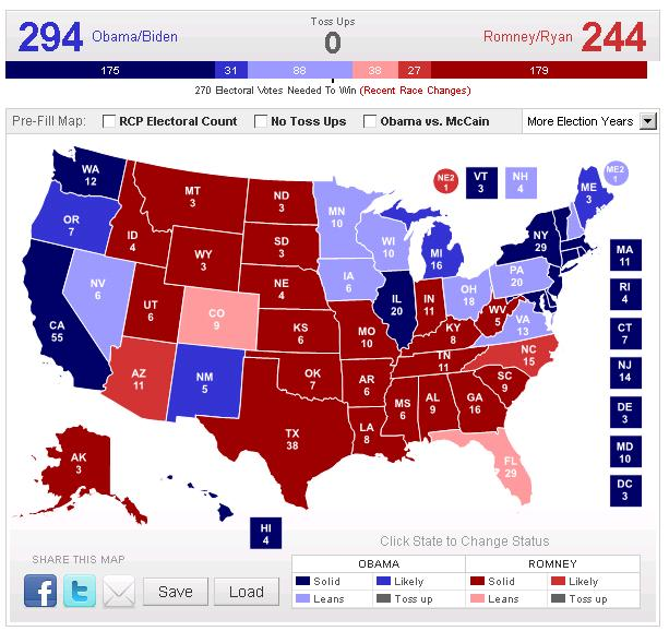 Electoral College Map 2012 Election