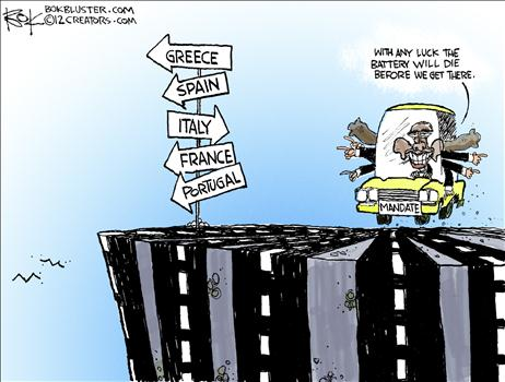 Cartoon Obama Cliff
