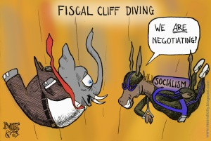 Fiscal Cliff Parachute Cartoon