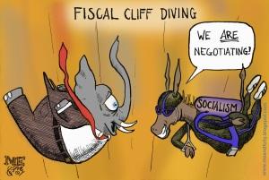 Fiscal Cliff Parachute Cartoon