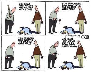 Gun Control cartoon club knife
