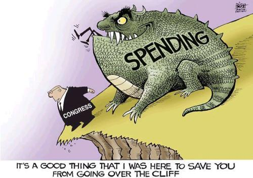 Spending Cliff Cartoon