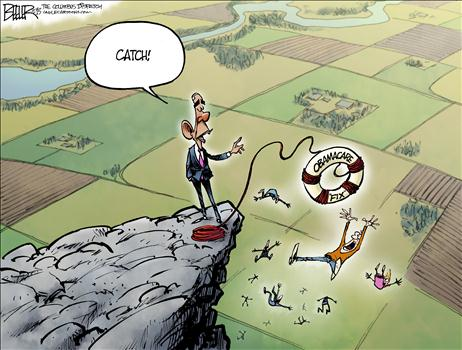 Nov 2013 Obamacare Lifesaver Cartoon